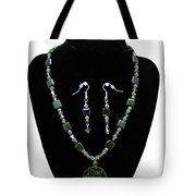 3576 Kambaba And Green Lace Jasper Necklace And Earrings Tote Bag
