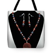 3578 Jasper And Agate Long Necklace And Earrings Set Tote Bag