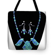3582 Lapis Lazuli Malachite Necklace And Earring Set Tote Bag