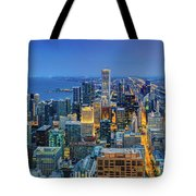 360chicago Rivers Begin To Glow - Skyline Panorama Tote Bag