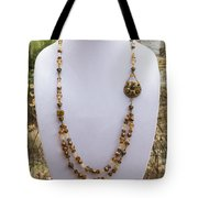 3615 Long Pearl Crystal And Citrine Necklace Featuring Vintage Brass Brooch  Tote Bag
