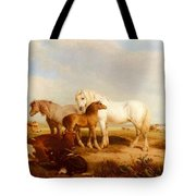 Willis Henry Brittan Horses And Cattle On The Shore Henry Brittan Willis Tote Bag