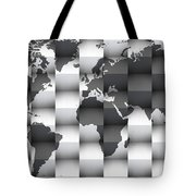 3d Black And White World Map Composition Tote Bag