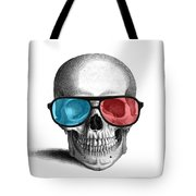 skull with 3D glasses Tote Bag