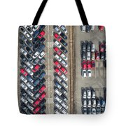Aerial View Lot Of Vehicles On Parking For New Car. Tote Bag