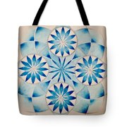 4 Blue Flowers Mandala Tote Bag