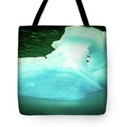 Blue Icebergs And Ice Chunks In Water Nearby Alaska Tote Bag