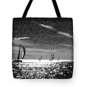 4 Boats On The Horizon Bw Tote Bag
