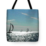 4 Boats On The Horizon Tote Bag