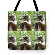 Bronze Statue Sculpture Of Bear Clapping Fineart Photography From Newyork Museum Usa Fineartamerica Tote Bag