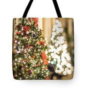 Christmas Tree And Decorations With Shallow Depth Of Field Tote Bag