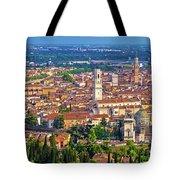 City Of Verona Old Center And Adige River Aerial Panoramic View Tote Bag