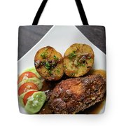 Cordon Bleu Breaded Fried Chicken Gravy And Potatoes Meal Tote Bag