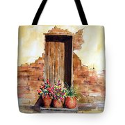 Door With Pots Tote Bag