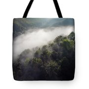 Fantastic Dreamy Sunrise On Foggy Mountains Tote Bag