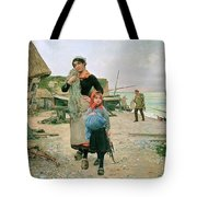 Fisherfolk Returning With Their Nets 1882 Henry Bacon Tote Bag