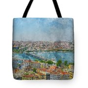 Istanbul Turkey Cityscape Digital Watercolor On Photograph Tote Bag