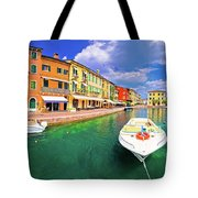 Lazise Colorful Harbor And Boats Panoramic View Tote Bag