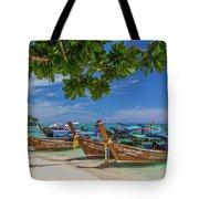 Long-tail Boats, The Andaman Sea And Hills In Ko Phi Phi Don, Th Tote Bag