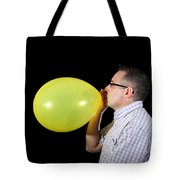 Man Inflating Balloon Tote Bag