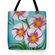 4 Morning Glories Flowers  Tote Bag