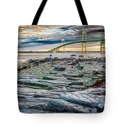 Newport Bridge At Sunset With Dramatic Sky Tote Bag