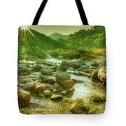 Nice River Water Flowing Through Rocks At Dawn Tote Bag