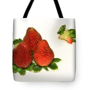 4... No... 3 Strawberries Tote Bag