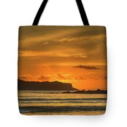 Orange Sunrise Seascape And Silhouettes Tote Bag