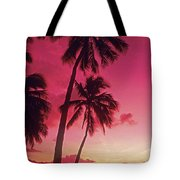 Palms Against Pink Sunset Tote Bag