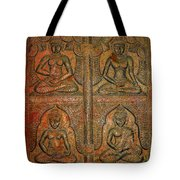 4 Panels Buddhas Wall Carving With Antique Filter Tote Bag