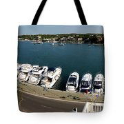 panoramic town 1 - Panorama of Port Mahon Menorca Tote Bag