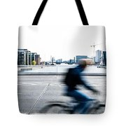 People Cycling In Copenhagen Tote Bag