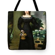 Portrait Of A Young Lady With Flower Basket Tote Bag