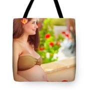 Pregnant Woman On The Beach Tote Bag