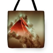 Red Flag On Black Background Tote Bag