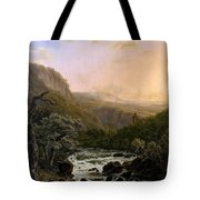 River In The Ardennes At Sunset Tote Bag