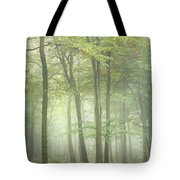 Stunning Colorful Vibrant Evocative Autumn Fall Foggy Forest Lan Tote Bag