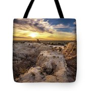 Sunset Over Walls Of China In Mungo National Park, Australia Tote Bag
