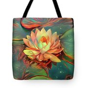 Teal And Peach Waterlilies Tote Bag