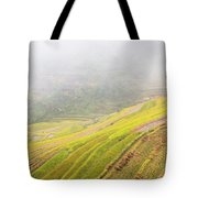 Terrace Fields Scenery In Autumn Tote Bag