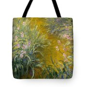 The Path Through The Irises Tote Bag