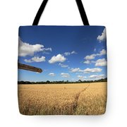 Tracks Through Golden Wheat Field Tote Bag
