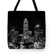 View Of Charlotte Skyline Aerial At Sunset Tote Bag