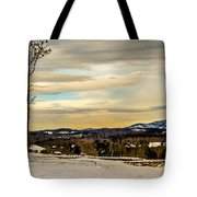 Winter Landscape And Snow Covered Roads In The Mountains Tote Bag