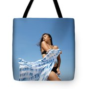 Woman On Beach Tote Bag