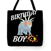 4 Years Old Birthday Design Dinosuar Shirt Tote Bag
