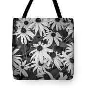 4400- Daisies Black And White Tote Bag