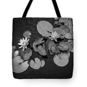 4425- Lily Pad Black And White Tote Bag