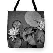 4432- Lily Pads Black And White Tote Bag